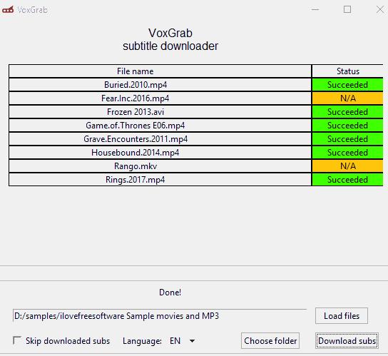 VoxGrab subtitle downloader software interface