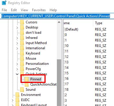 access pinned registry key