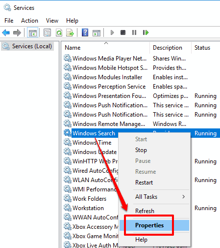 access properties of windows search local service