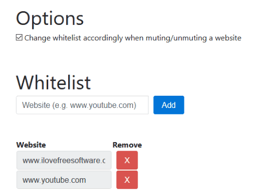 add or remove websites from whitelist