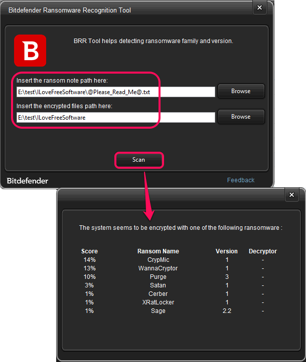 bitdefender ransomware recognition tool in action