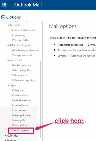click reading pane option