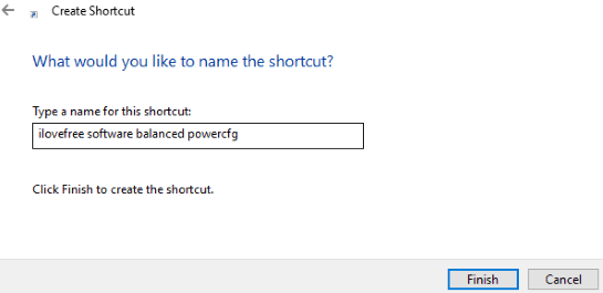 enter name to power plan shortcut