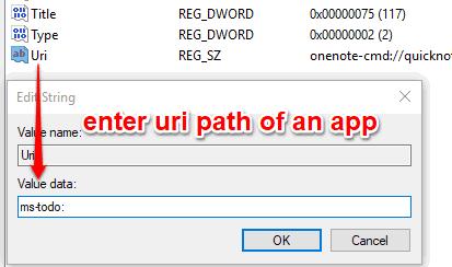 enter uri path of an app