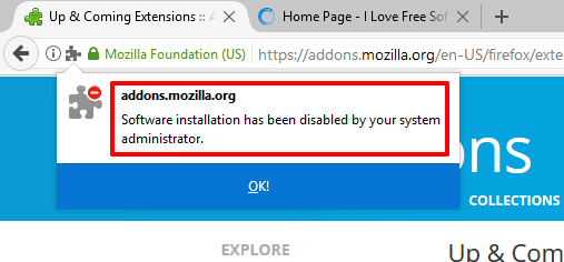 error while trying to install firefox addon