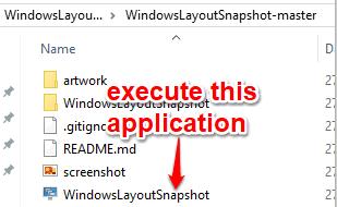 execute windowslayoutsnapshot application