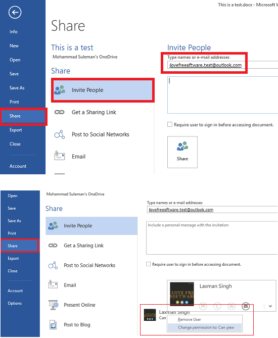 invite user tyo collaborate in word and set access rights