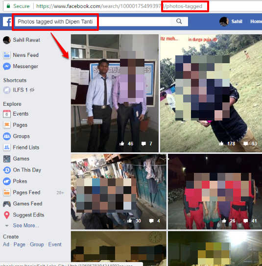 list of photos tagged with facebook user