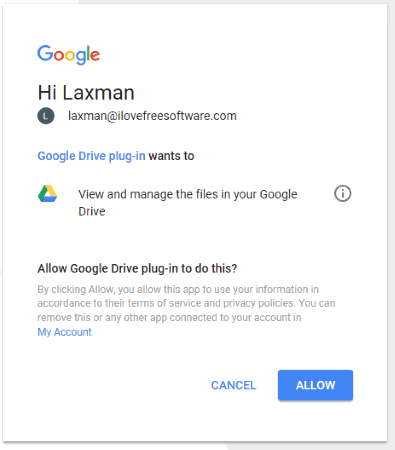 login to your google account and allow this plugin