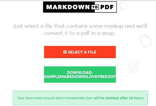 markdowntopdf website interface