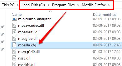 paste mozilla.cfg file in firefox folder