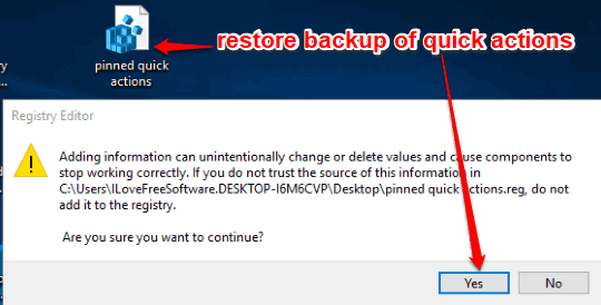 restore backup of quick actions