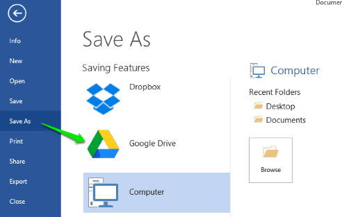 save file from ms excel, powerpoint, word to google drive
