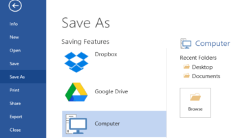 save files from ms excel, powerpoint, word to google drive