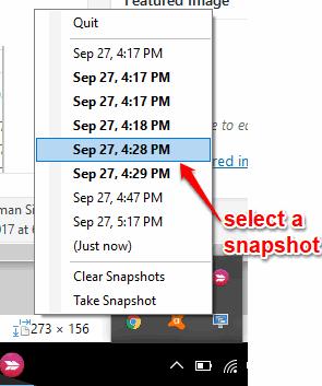 select a snapshot