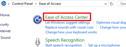 select ease of access center category