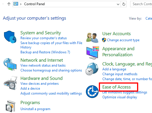 select ease of access