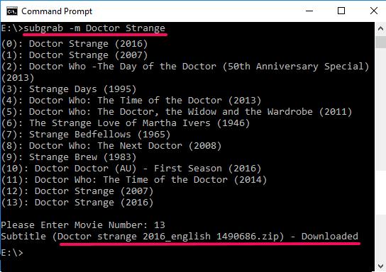 subgrab command line movie subtitle downloader