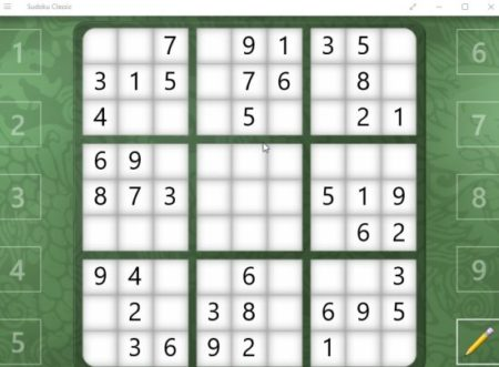 sudoku classic game board