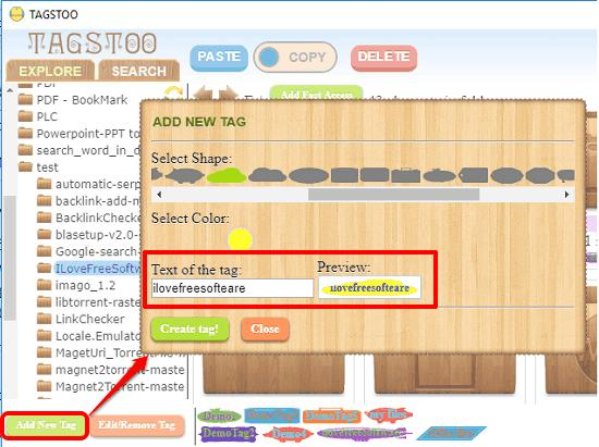 tagstoo add new tag
