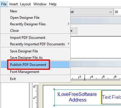 use publish pdf document option