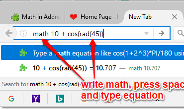 write math and start typing equation