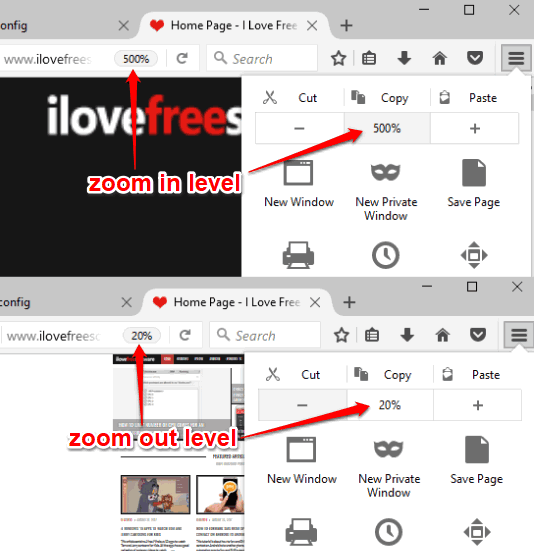 zoom in and zoom out level changed in firefox