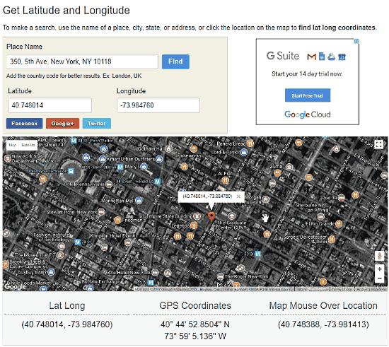latitude longitude coordinates