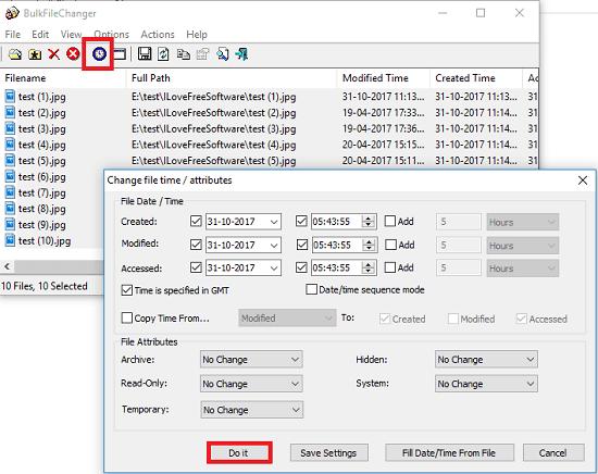 Bulk File changer bulk change file timestamp