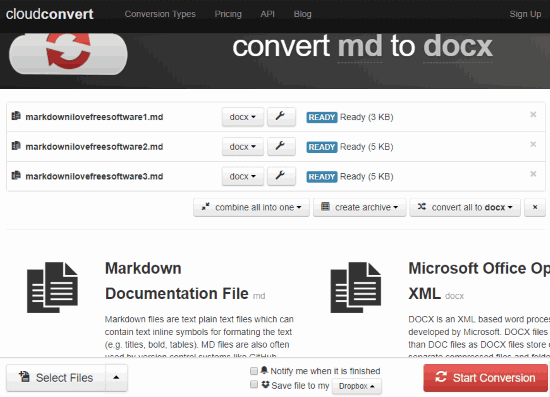 CloudConvert MD to DOCX