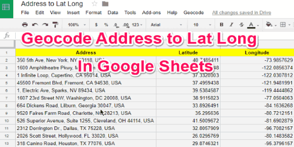 How To Geocode Address To Lat Long In Google Sheets