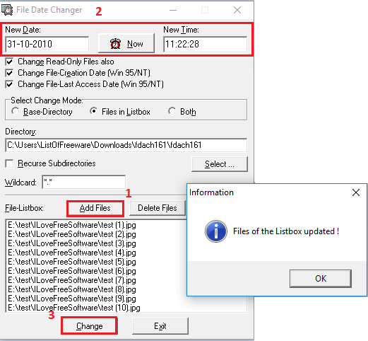 File date chnager bulk change file timestamps