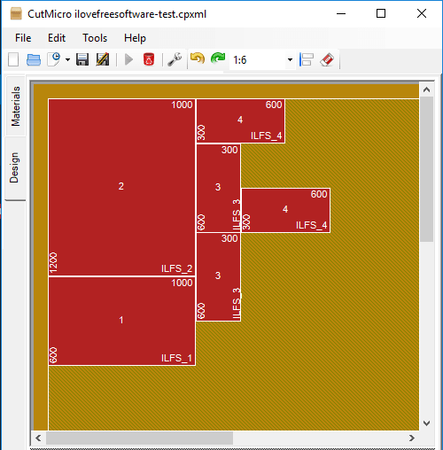 Free Software to Design Rectangular Regions for Cutting of Wood, Glass