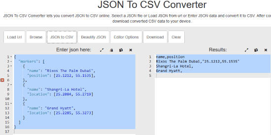 JSON To CSV Converter by beautifytools