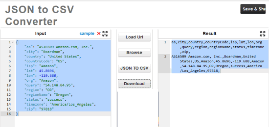 JSON to CSV Converter by codebeautify