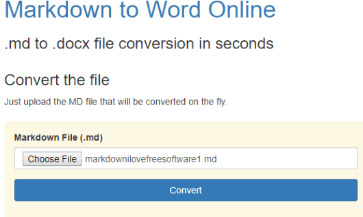 Markdown to Word Online- interface