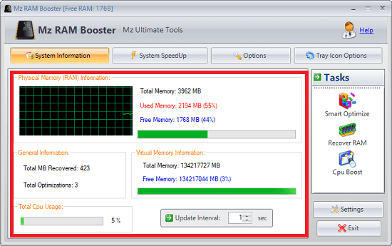 Mz RAM booster software interface