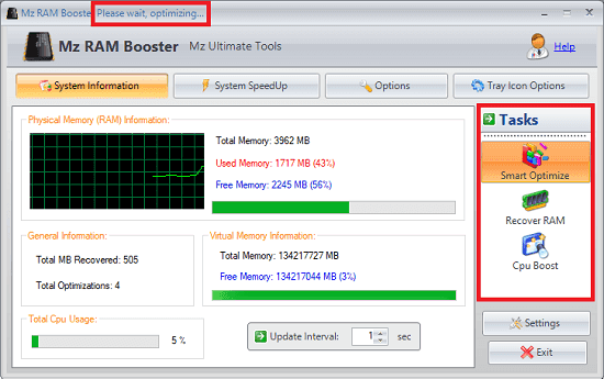 Mz RAM booster software optimizing