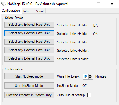 NoSleepHD prevent hard disk from going to sleep