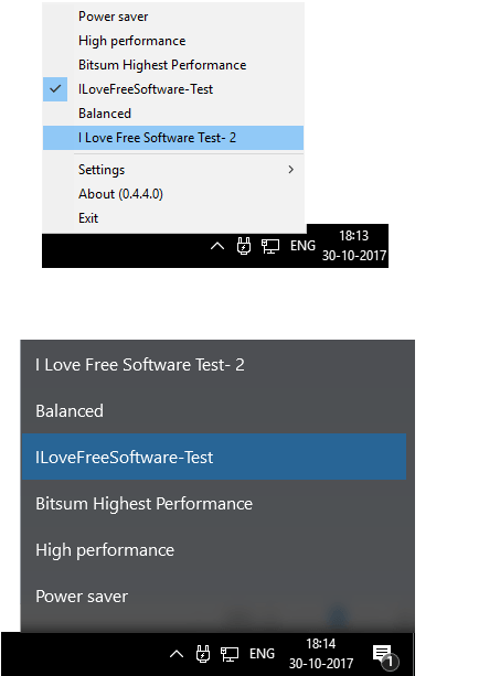 PowerSwicther options and shortcut