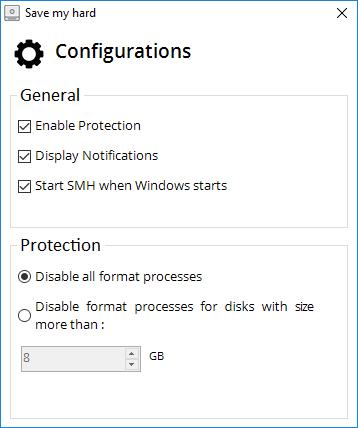 SaveMyHard interface