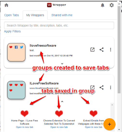 add tabs to groups and restore them later