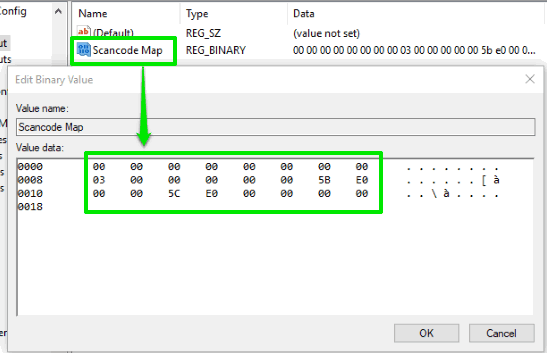 add value in Scancode Map value data