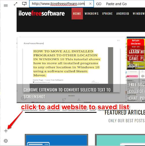 add website to saved list
