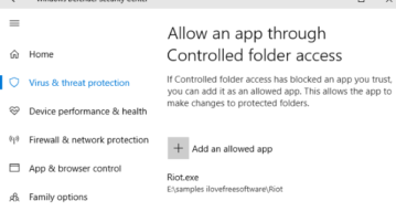 allow a program to controlled folder access in windows 10