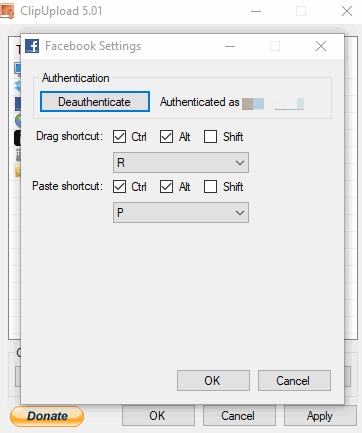 authenticate facebook account and set hotkey