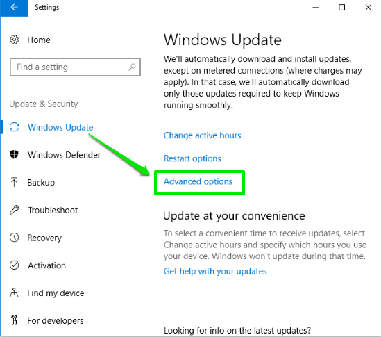 click advanced options in Windows Update page
