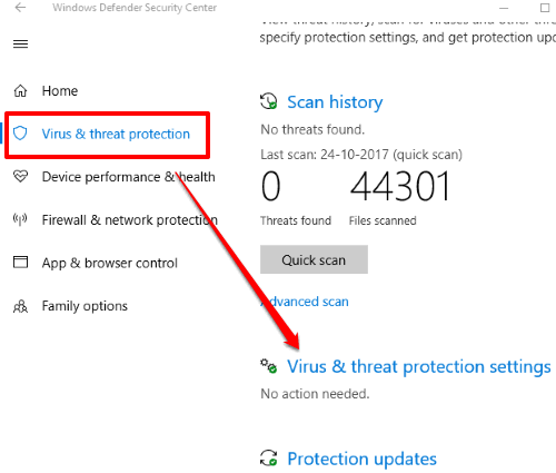click virus and thread protection settings option