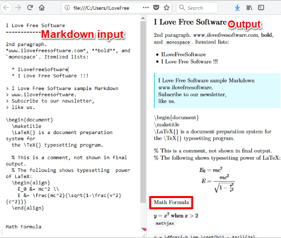 distraction free markdown editor with latex and math formula support