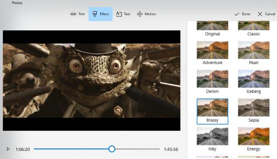 edit a video in photos app of windows 10